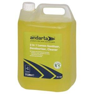 Andarta 33-120 3 in 1 Lemon Sanitiser Deodouriser Cleaner 5L