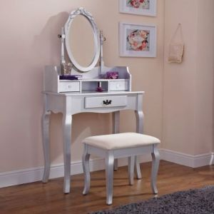Lumberton Dressing Table Silver & Pine 3 Drawer With Stool