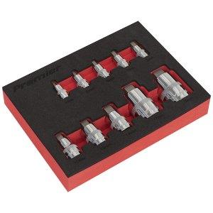 """Sealey AK6244 Hex Socket Bit Set 10pc Stubby 1/4"""", 3/8"""" & 1/2""""Sq Drive"""