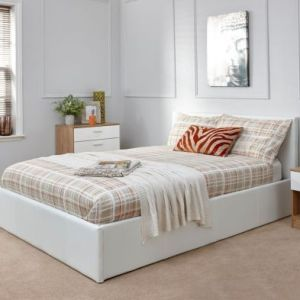 Winston End Lift Double Ottoman Bed White Faux Leather