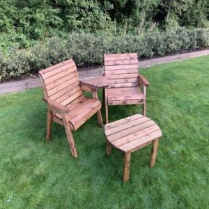 Charles Taylor 2 Seat Angled Square Twin Garden Chair Set & Table