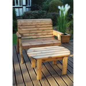 Charles Taylor 2 Seat Circular Deluxe Garden Bench Set Grey Cushions
