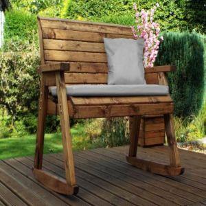 Charles Taylor 2 Seat Garden Bench Rocker Grey Cushions