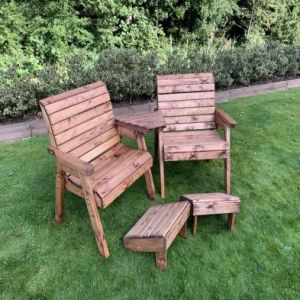 Charles Taylor 2 Seat Straight Square Twin Garden Chair Set & Footstools