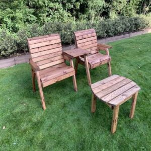 Charles Taylor 2 Seat Straight Square Twin Garden Chair Set & Table