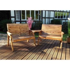 Charles Taylor 4 Seat Angled Twin Garden Bench Set Grey Cushions