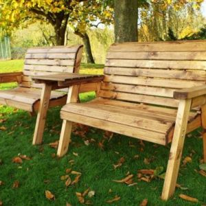 Charles Taylor 4 Seat Straight Square Twin Garden Bench Set Grey Cushions