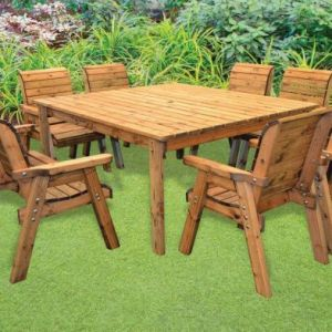 Charles Taylor 8 Seat Square Bench Mix Garden Table Set Grey Cushions