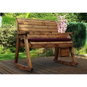 Charles Taylor Rocker 2 Seat Garden Bench - Burgundy Cushions