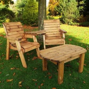 Charles Taylor Twin Angled 2 Seat Bench & Table Set