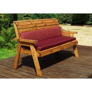 Charles Taylor Winchester 3 Seat Garden Bench - Burgundy Cushions