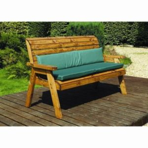 Charles Taylor Winchester 3 Seat Garden Bench - Green Cushions