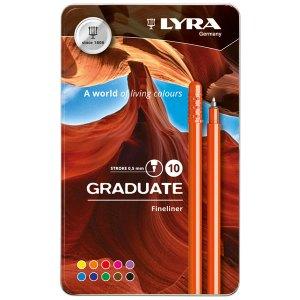 Fila Lyra Graduate Fineliner Pens 10 Assorted Colours in Tin Box