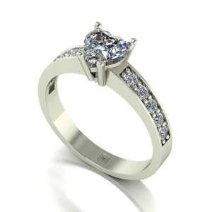 Lady Lynsey Moissanite 9ct White Gold 1.00ct eq Heart Solitaire Ring