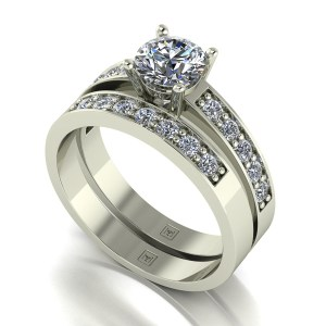 Lady Lynsey Moissanite 9ct White Gold 1.20ct eq Solitaire Ring Set