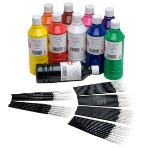 Scola Acrylic Paint Pack 10 & Sable Brushes Pack of 50