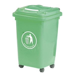 50L Red Wheeled Bin - indoor use - Complies to BS/EN 840 - 30% recycled Polyethylene