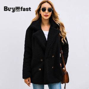Women Winter Office Toy Pink Button Plush Oversized Overcoat Jacket