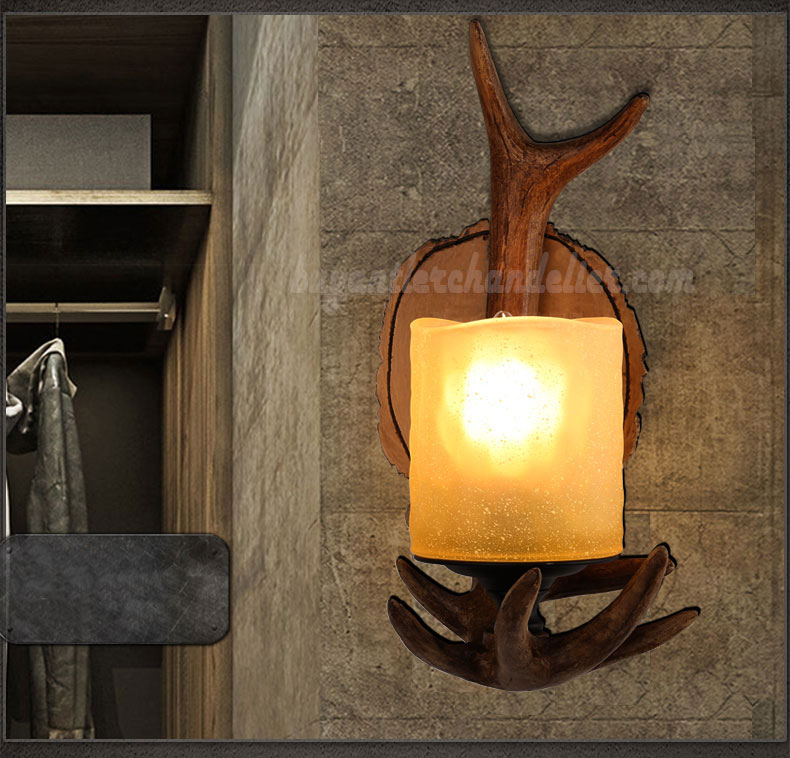 Single Deer Antler Sconce Wall Lamps Mount Decor ... on Wall Sconce Lighting Decor id=56024