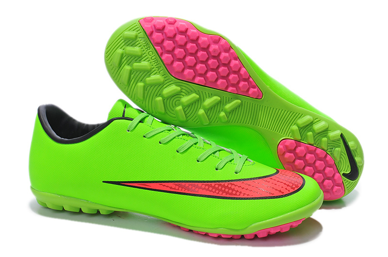 a3d0ac80f Latest 2014 World Cup Nike Mercurial Victory TF X Football Boots Green pink