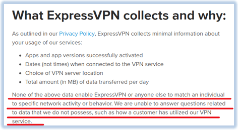 expressvpn data logging policy review
