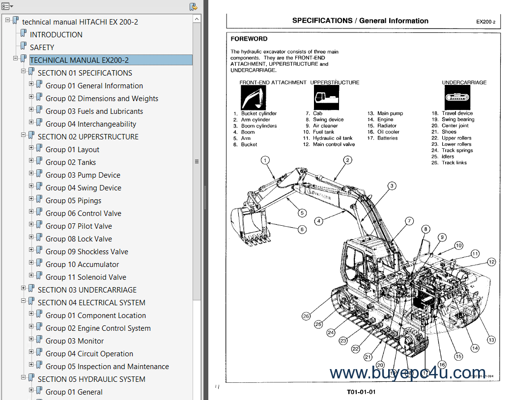 Hitachi Ex200 2 Excavator Service Manuals