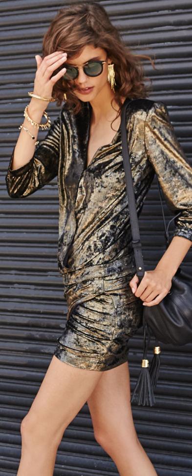 ba & sh Galaxi Metallic Draped Dress