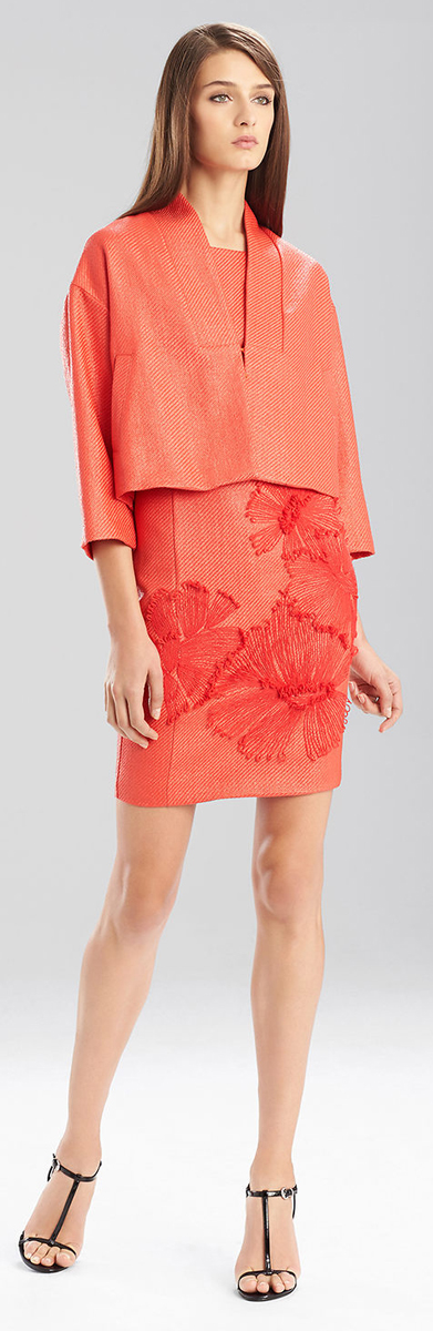 Josie Natori Laquered Rafia Style Jacket
