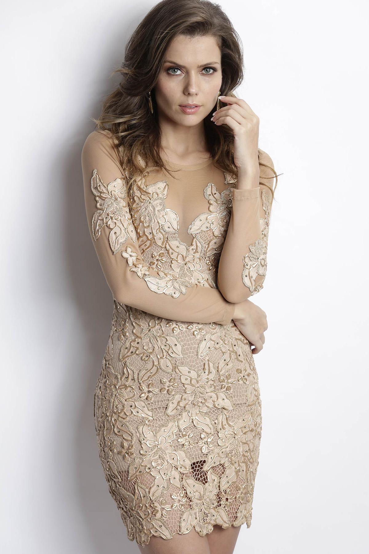 Baccio Couture Roselyn Painted Caviar Champagne Cocktail Dress ...