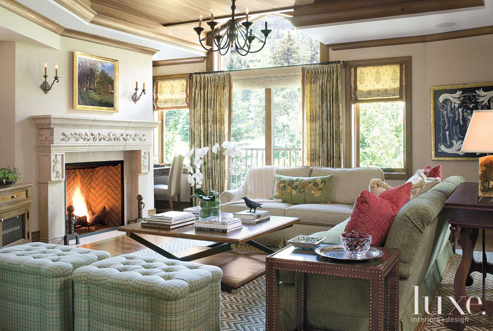 Traditional Living Room with Green Décor