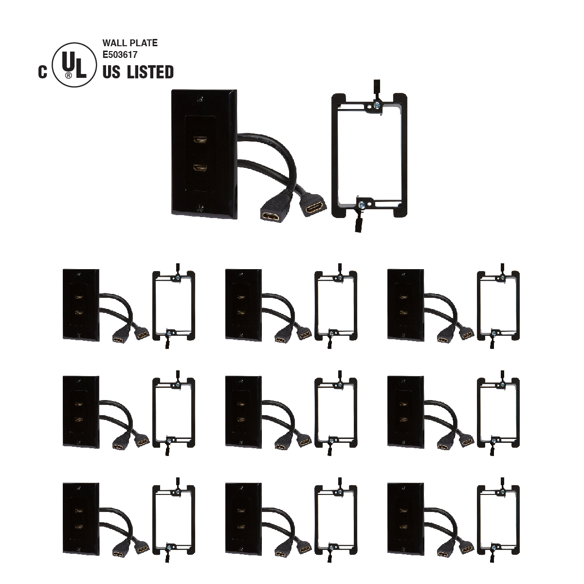 Shop Hdmi Wall Plates With Included Cables In Black