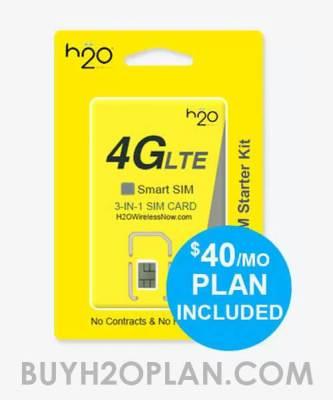 image of H2O Wirless $40 Prepaid Plan