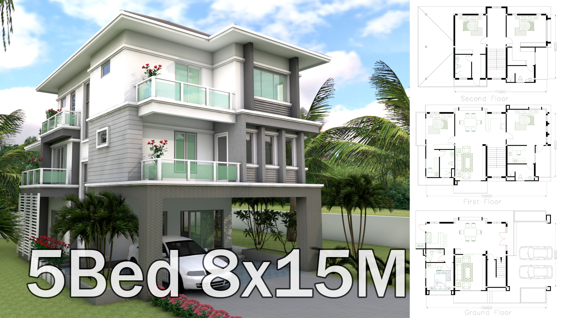 Sketchup 5 bedrooms house plan 8x15m samphoas com