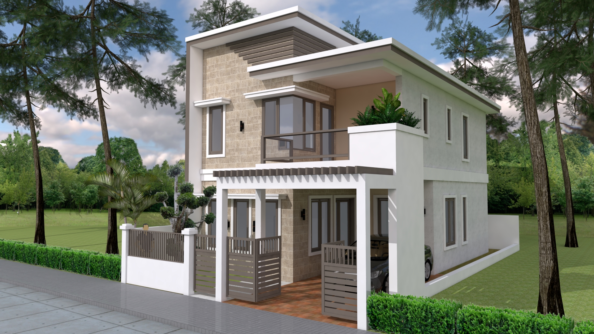 Home Design Plan 7x12m with 4 Bedrooms Plot 8x15 ...