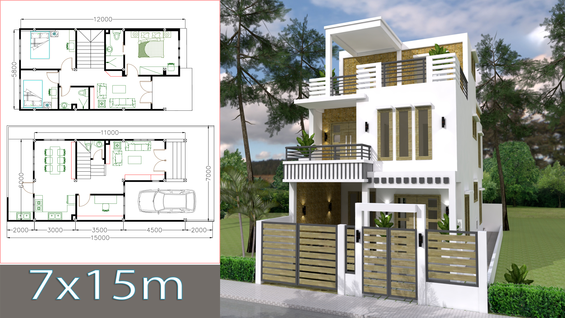 SketchUp Home Design Plan 7x15m with 3 Bedrooms - Samphoas.Com
