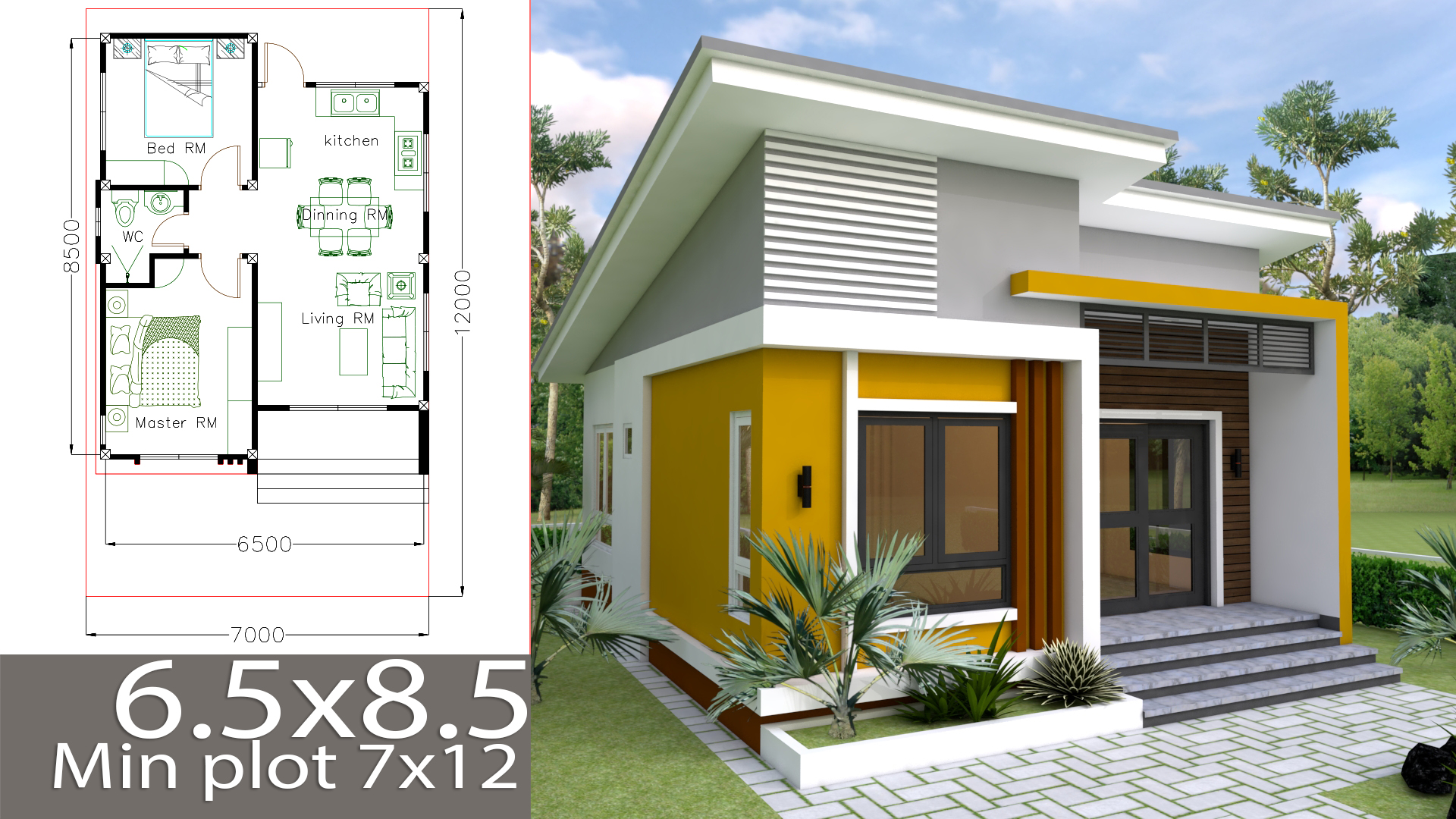 Small Home design Plan 6.5x8.5m with 2 Bedrooms - Samphoas.Com