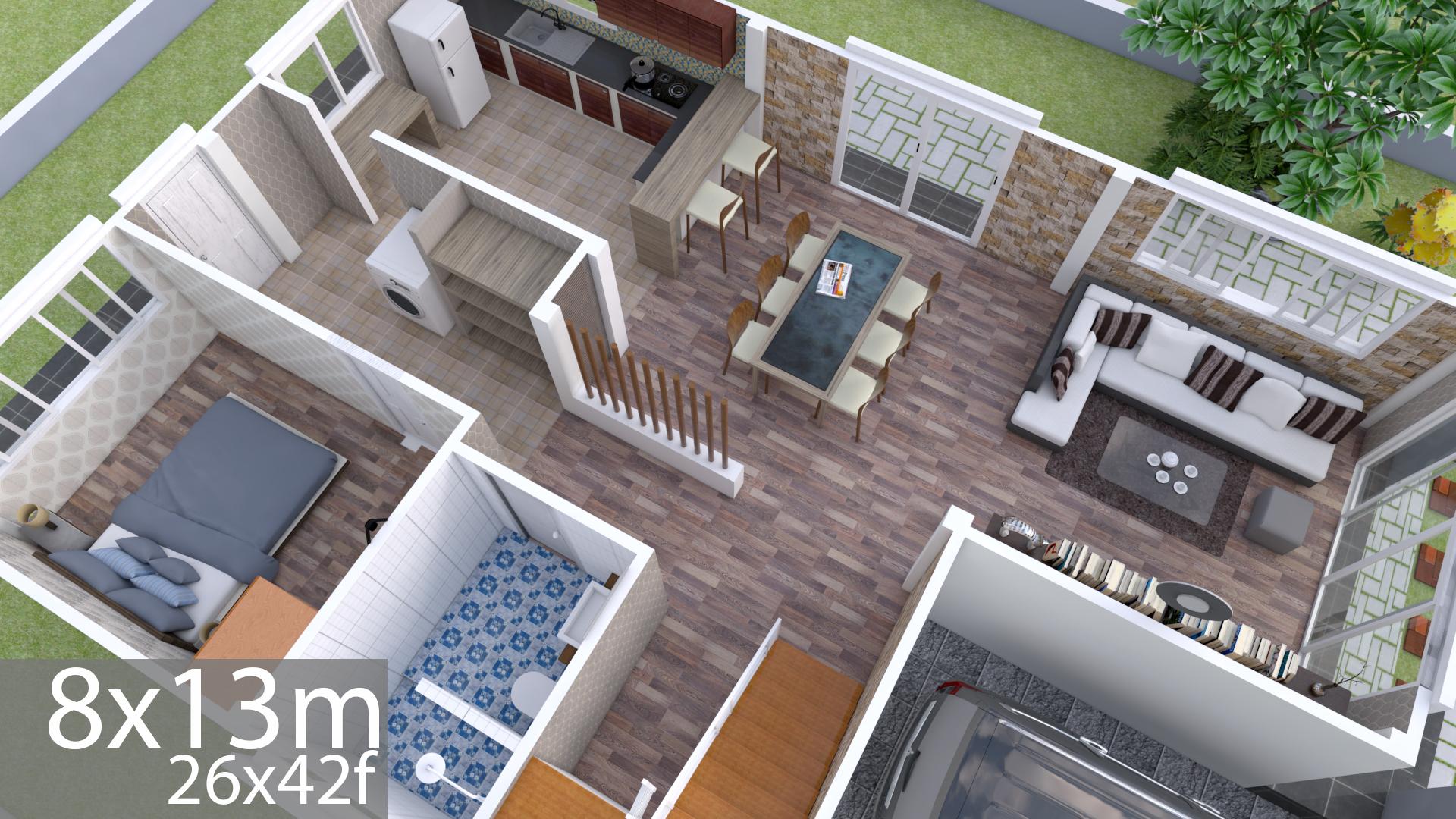 Plan 3D Interior Design Home Plan 8x13m Full Plan 3Beds ...