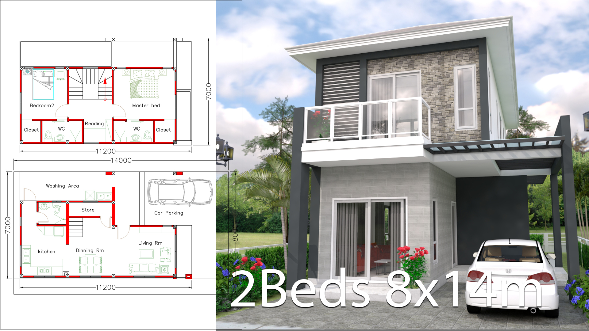 House Design 8x14m With 2 Bedrooms