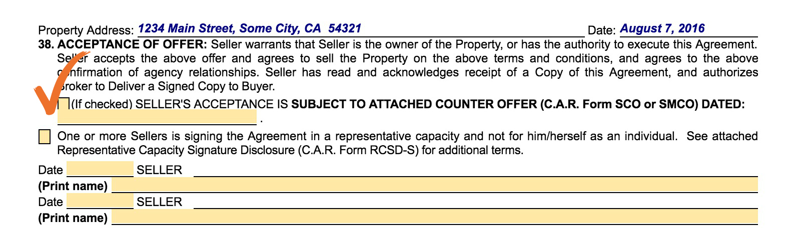 Vacant land purchase agreement, paragraph 38