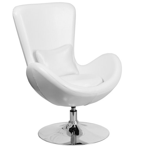 Egg Series White Leather Side Reception Chair - Egg Chair