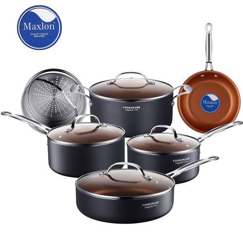Cooksmark 10-Piece Copper Ceramic Induction Compatible Nonstick Pots and Pans Set - pots pans sets
