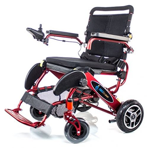 Geo Cruiser DX Lightweight Compact Folding Lithium Electric Power Wheelchair RED - Electric Wheelchairs