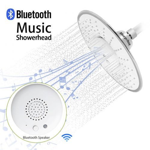 Shower Head, Morpilot Polished Chrome Top Spray Rain Shower Head with Waterproof Music Jet Wireless Bluetooth Speaker Showerhead Audio Box Built-in Mic with Answer Calls Button - Bluetooth Wireless Shower Heads
