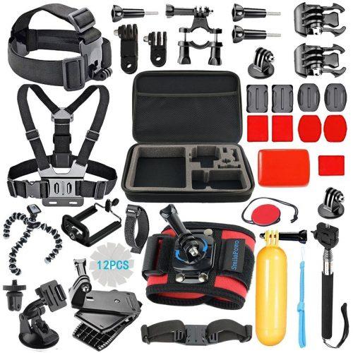 SmilePowo 42-in-1 Accessory Kit for GoPro Hero5 Black, Hero5 Session, HERO6 Black, Hero4 Silver Black, Hero Session, Accessory Bundle Set for GoPro Hero3+ 3 2 1, SJ Cam Xiaomi - GoPro accessories Kit