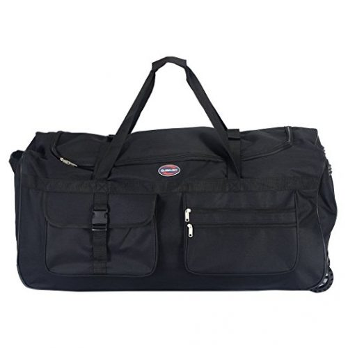 """Tangkula 36"""" Rolling Wheeled Tote Duffle Bag Carry On Luggage Travel Suitcase Black - Rolling Duffel Bags"""