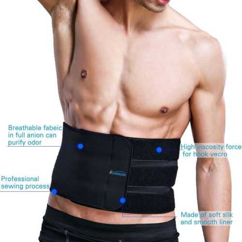 Waist Trimmer Ab Belt Trainer for Men Women Weight Loss with 3 Adjustable Hooks Helps Abdominal Muscle Shaper & Workout Sweat Enhancer, ASOONYUM Back Lumbar Support, Stomach Wrap Sauna Belts - Abs Belts