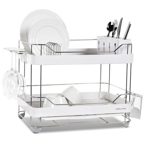 2-Tier wide kitchen sinkware dish rack, dish drying rack, stainless steel, large - Dish Rack
