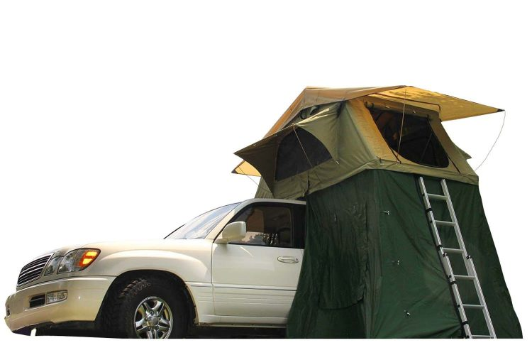 Camco Vehicle Roof Top Tent with Annex, Sleeps Up To Three, Includes High-Density Mattress, Easily Mounts to Most Factory or Aftermarket Roof Racks/Bars - Suv Tent
