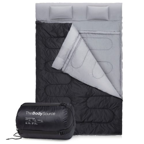 Double Sleeping Bag with 2 Pillows - Extra Large - Queen Size - Converts into 2 Singles - 3 Season for Camping, Hiking, Outdoors - Double Sleeping Bags