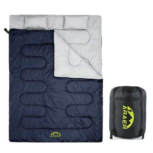 Double Sleeping Bags, ARAER Lightweight Waterproof Sleeping Bag with Two Pillows Four Season for Camping, Backpacking, Hiking, Outdoor Activities - Queen Size XL - Double Sleeping Bags
